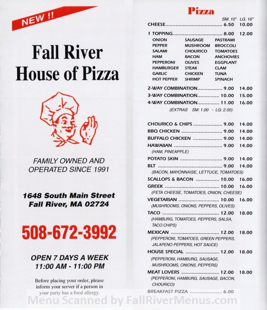 Fall River House of Pizza