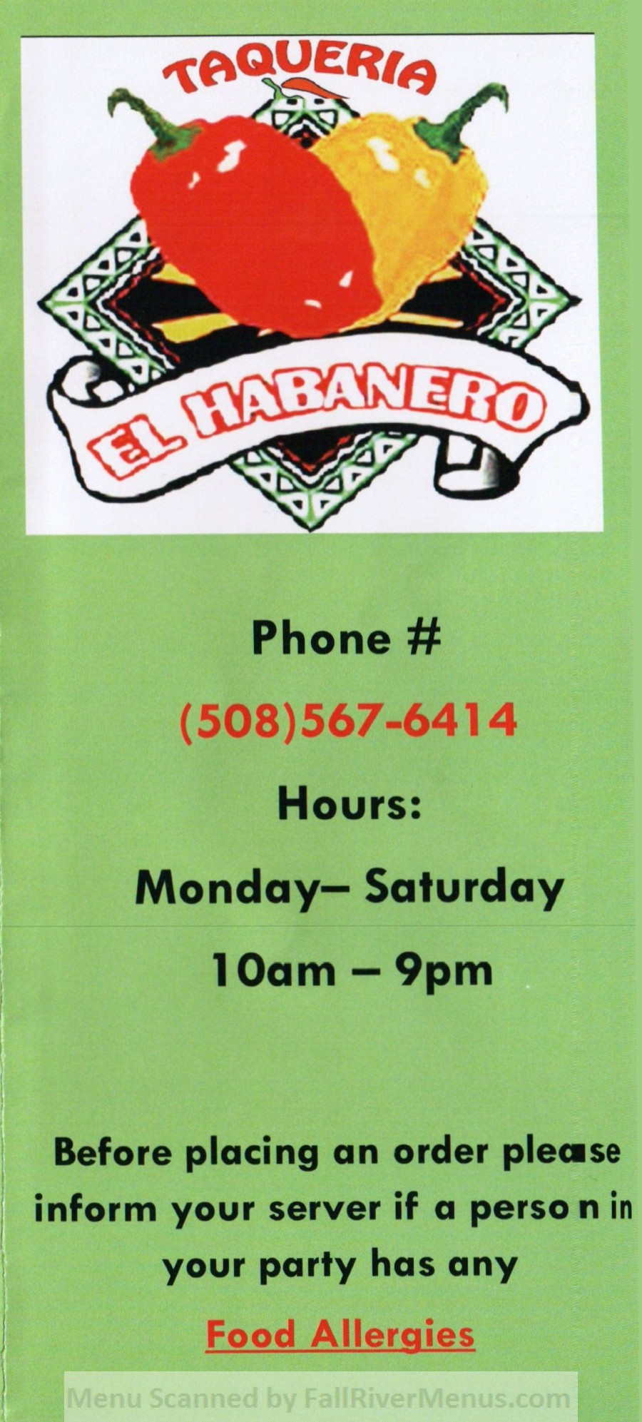 Taqueria El Habanero Fall River Scanned Menu